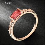 Vintage Red Crystal Ring Rose Gold Colored For Women