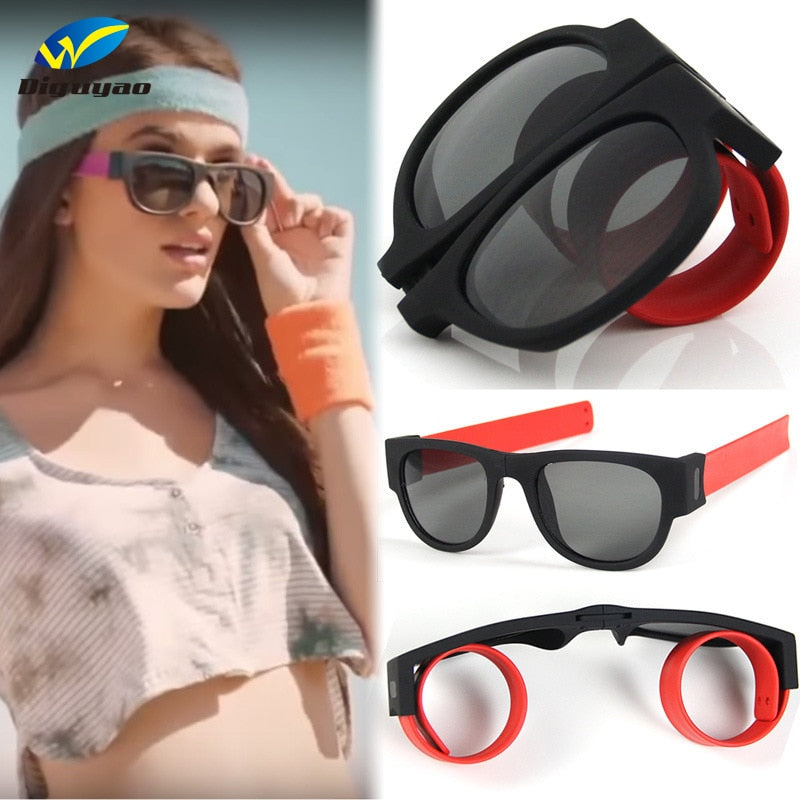 Men and Women Modern Polarized Clap Ring Foldable Sun Glasses