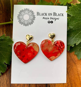 Gold Heart Earring Red