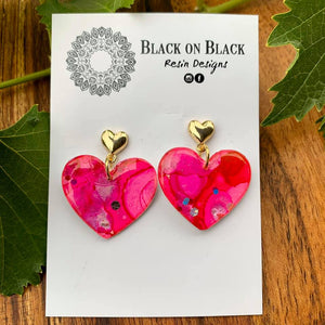 Gold Heart Earring Pink