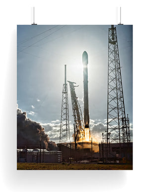 SpaceX Falcon 9 Silhouetted at Liftoff: Launch Poster
