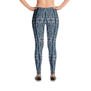 """Art Deco in Blue"" Standard Made to Order Yoga Pants-Fitness Wear, yoga pants, $30-$50-And Above All...YOGA"