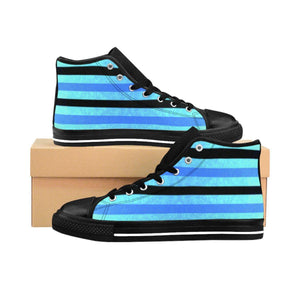 """Black and Blue Stripes"" Deluxe Women's High-top Sneakers - And Above All...YOGA"
