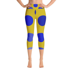 """Blue and Gold"" Capri Cut Yoga Pants - And Above All...YOGA"