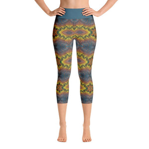 """Blue-Gold Mandala Fantasy"" Deluxe, Made to Order Capri Yoga Pants - And Above All...YOGA"