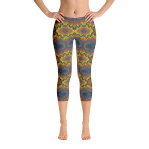 """Blue-Gold Mandala Fantasy"" Standard, Made to Order Capri Yoga Pants - And Above All...YOGA"