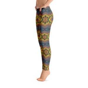 """Blue-Gold Mandala Fantasy"" Standard, Made to Order Yoga Pants - And Above All...YOGA"