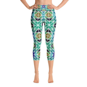 """Blue-Green Mosaic"" Capri Yoga Pants - And Above All...YOGA"