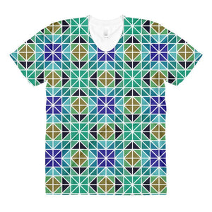 """Blue-Green Mosaic"" Women's Crew Neck T-Shirt - And Above All...YOGA"