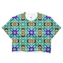 """Blue-Green Mosaic"" Women's Crop Top - And Above All...YOGA"