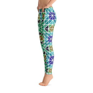 """Blue-Green Mosaic"" Yoga Pants - And Above All...YOGA"