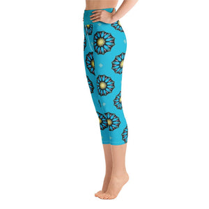 """Blue Mandala"" Deluxe Made to Order Capri Yoga Pants-fitness wear, yoga pants, capris, $30-$50-And Above All...YOGA"