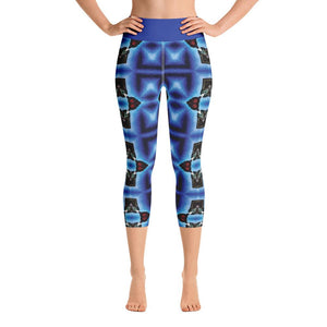 """Blue Masks"" Deluxe Made to Order Capri Yoga Pants - And Above All...YOGA"