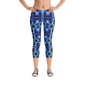 """Blue Masks"" Standard Made to Order Capri Yoga Pants - And Above All...YOGA"