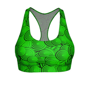"""Circles in Green"" Cut & Sew Sports Bra - And Above All...YOGA"