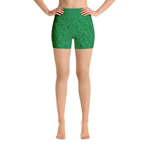 """Circles in Green"" Yoga Shorts - And Above All...YOGA"