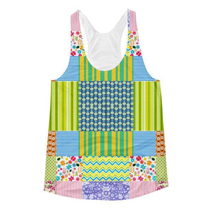"""Crazy Quilt"" Women's Racerback Tank Top - And Above All...YOGA"