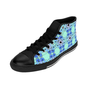 """Delft-Like Mandala"" Deluxe Women's High-top Sneakers - And Above All...YOGA"