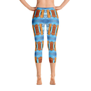 """Dreaming of Pompeii"" Capri Yoga Pants (Short Waistband) - And Above All...YOGA"