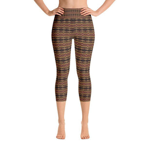 """Earthen Abstract"" Yoga Capri Leggings - And Above All...YOGA"