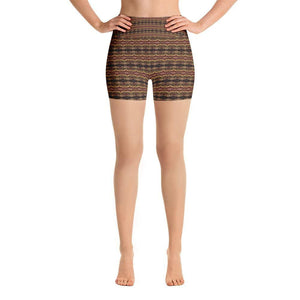 """Earthen Abstract"" Yoga Shorts - And Above All...YOGA"