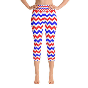 """Electric Flag"" Capri Yoga Pants - And Above All...YOGA"