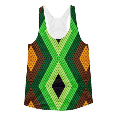 """Geometric Earth"" Women's Racerback Tank Top - And Above All...YOGA"