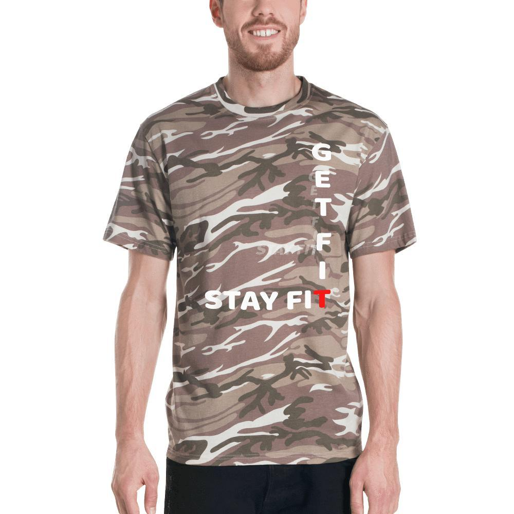 GET FIT -- STAY FIT Short-sleeved camouflage t-shirt - And Above All...YOGA