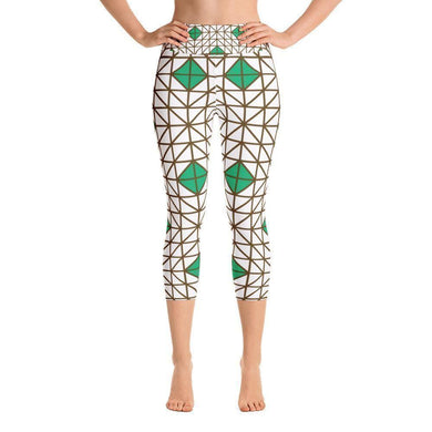 """Green-Brown Mosaic"" Capri Cut Yoga Pants - And Above All...YOGA"