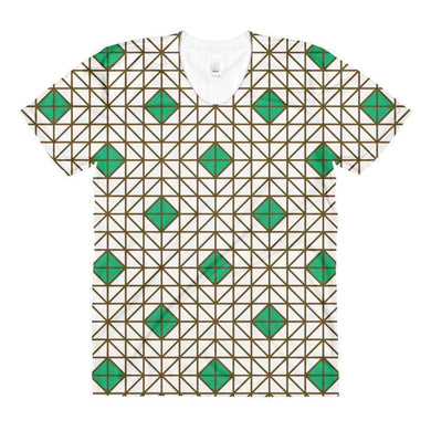 """Green-Brown Mosaic"" Women's Crew Neck T-Shirt - And Above All...YOGA"