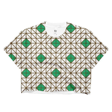 """Green-Brown Mosaic"" Women's Crop Top - And Above All...YOGA"