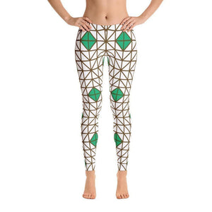 """Green-Brown Mosaic"" Yoga Pants - And Above All...YOGA"
