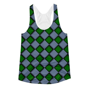"""Green Harlequin"" Women's Racerback Tank Top - And Above All...YOGA"