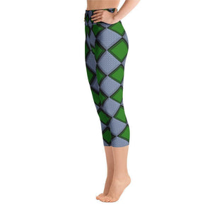 """Harlequin Green"" Capri Yoga Pants - And Above All...YOGA"