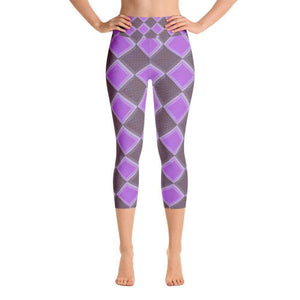 """Harlequin Purple"" Capri Yoga Pants - And Above All...YOGA"