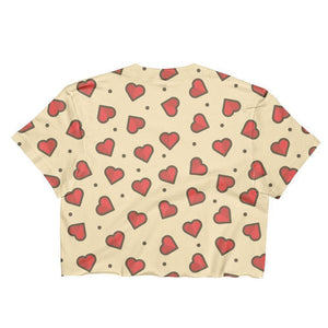 """Hearts"" Women's Crop Top - And Above All...YOGA"