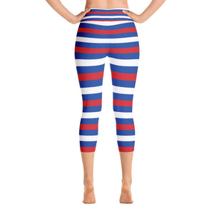 """Horizontal Stripes"" Deluxe Capri Yoga Pants - And Above All...YOGA"