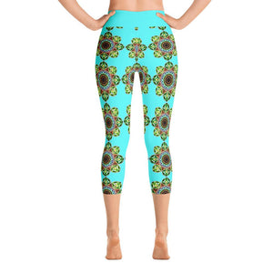 """Meditation Glow"" Deluxe Capri Yoga Pants - And Above All...YOGA"