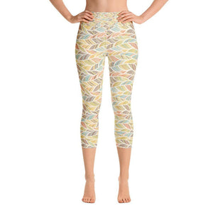 """Palm Fronds"" Capri Yoga Pants - And Above All...YOGA"
