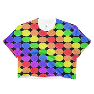 """Rainbow Balls Black"" Ladies Crop Top - And Above All...YOGA"