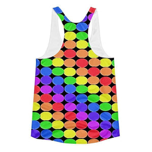 """Rainbow Balls Black"" Women's Racerback Tank Top - And Above All...YOGA"