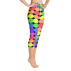 """Rainbow Balls on Black Background"" Capri Yoga Pants - And Above All...YOGA"