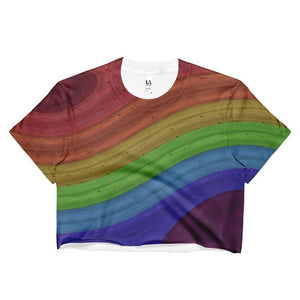"""Rainbow Flow"" Ladies Crop Top - And Above All...YOGA"
