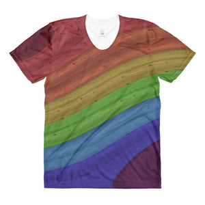 """Rainbow Surge"" Women's Crew Neck T-Shirt - And Above All...YOGA"