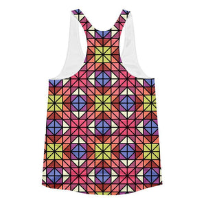 """Red-Blue Mosaic"" Women's Racerback Tank Top - And Above All...YOGA"