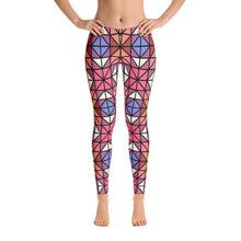"""Red-Blue Mosaic"" Yoga Pants - And Above All...YOGA"
