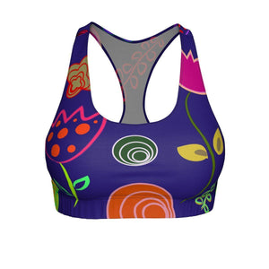 """Royal Flowers"" Cut & Sew Sports Bra - And Above All...YOGA"