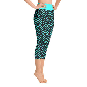 """Zig-Zag Turquoise"" Yoga Capri Leggings - And Above All...YOGA"