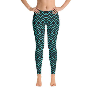"""Zig-Zag Turquoise"" Yoga Pants - And Above All...YOGA"