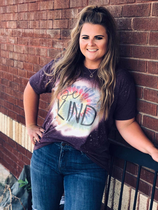 Be Kind Bleached Tshirt - ASK Apparel LLC